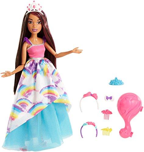 Barbie FXC81 Dreamtopia Große Zauberhaar Prinzessin Puppe (brünett)