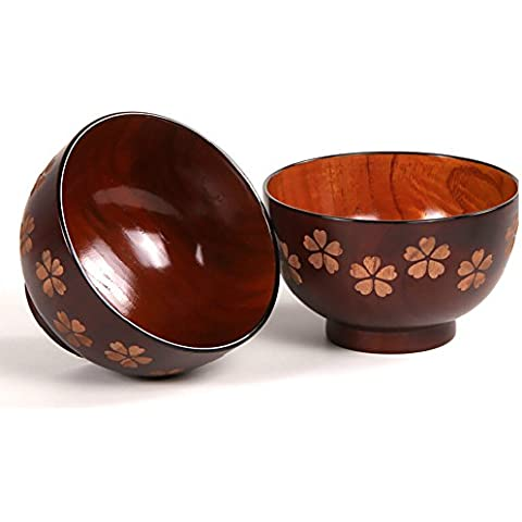 SDBING Set Of 2 Japanese Style Cherry Handmade Wooden Bowls Healthy Tableware Kitchen Utensils by SDBING