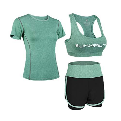 Uni-Wert Bekleidung Yoga Set, Damen Trainingsanzug Set Yoga Jogging Lauf Anzug, Grün - 3 Stück Set - Kurze Hose, L - 3 Stück Drei Stück Anzug