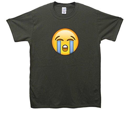 Loudly Crying Face Emoji T-Shirt Khaki