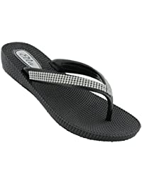 e36120831 Ella Womens S1 Low Wedge Toe Post Flip Flop Sandals in a Choice of Colours
