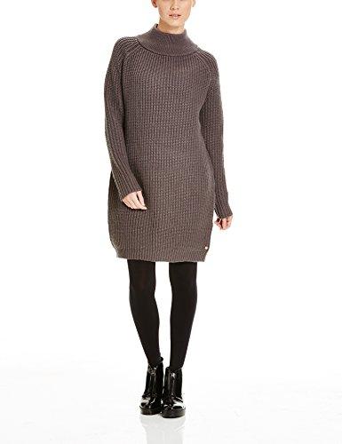 Bench Damen Strick Kleid RENASCENTIST, Mini, Gr. 38 (Herstellergröße: M), Grau (Dark Grey GY039)