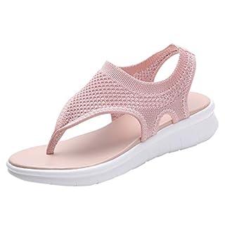 BASACA Sandalen Damen Frauen Mädchen Atmungsaktiv Komfort Aushöhlen Lässige Sommer Schuhe Frau Keil Mode 2019 (38 EU, V-Pink)