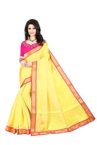 Navabi Export Cotton Saree With Blouse Piece (YellowPink_Free Size)