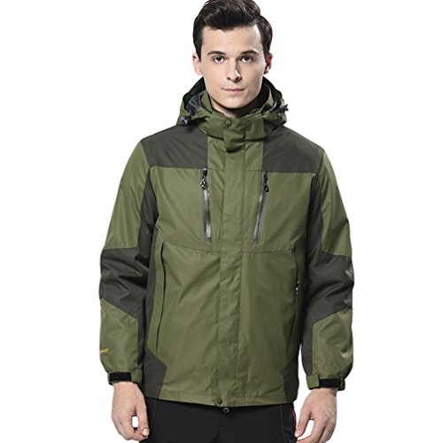 Jitong Damen/Herren 3 In 1 Windjacke Wasserdichte Outdoor Jacke Frauen Mantel Fleece Futter Softshell Jacken (Herren Armee Grün, CN 3XL)