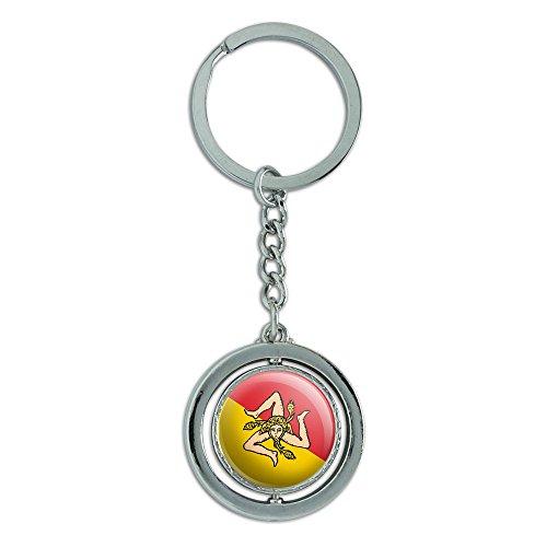 Preisvergleich Produktbild Sizilien National Land Flagge Spinning rund Metall Schlüsselanhänger Schlüsselanhänger Ring