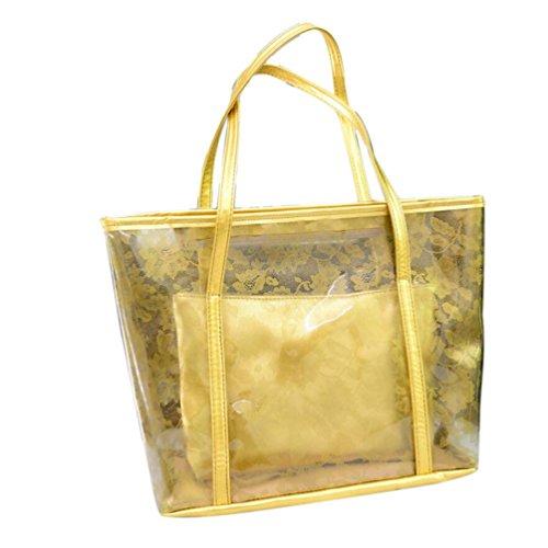 Hunpta Frauen Strand Schulter Kurier Beutel Mutter Paket beiläufige zusammengesetzte Handtasche Gold