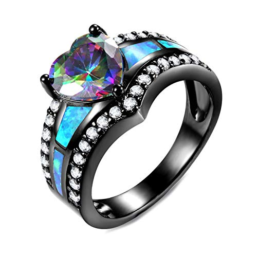 LauLily Spezial Women Fashion Jewelry Black Plated Rainbow Blue Purple Stone Blue Opal Heart Rings for Cocktail Brand Ring Gift(None 5 Number 5.) (Größe Black Ringe Diamond 7 Damen)