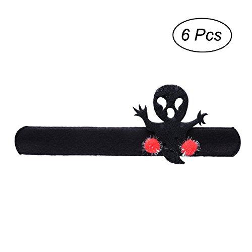 Tinksky Halloween-Klaps-Armbänder Wristband Halloween-Partei-Bevorzugungs-Handgelenk-Dekor für Kinder, Satz von 6 (schwarzer ()