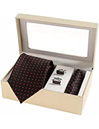 Sir Michele Designer Black Micro Silk Tie, Pocketsquare and Cufflink Set for Men (Pack of 3)