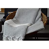 Allée Déco – Manta para sofá, Manta o Colcha 100% algodón Natural Modelo Gris