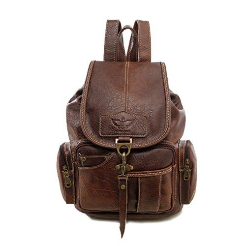 Fanshu Damen Mode Rucksack Vintage Style Leder Rucksack Braun