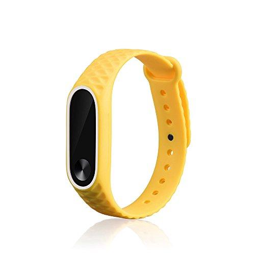 7b7280a3565e JiaMeng Fashion Light Original Pulsera de Mu eca de la Correa del Reloj del  silic¨n del reemplazo de la Correa para Xiaomi Mi Band 2(Amarillo)