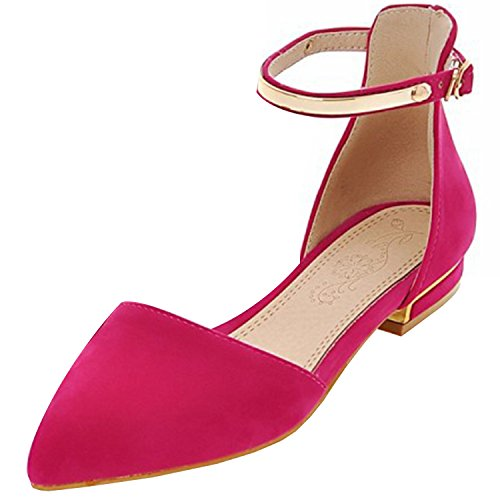 Azbro Women's Pointed Toe Ankle Strap Flat Pumps Fuchsia