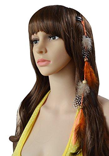 5x Mädchen handgefertigt bunte Bohemia Feder Haar Extensions -