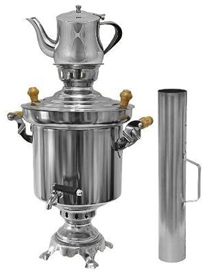 Russischer / Türkischer Edelstahl Holzkohle Samowar 5 Liter mit 1 Liter Teekanne