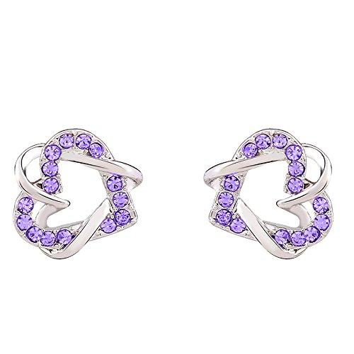 Lily joyas de color plateado y dorado plateado rosa con cristales de Swarovski de cristal de Juego de pendientes de tuerca de diamantes para mujer
