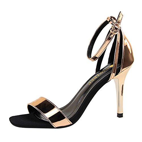 z&dw Mode simple et mince talons un mot avec ol professionnel sandales Champagne