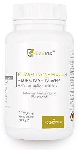 FürstenMED® Boswellia Serrata Weihrauch Kapseln + Kurkuma (Curcumin) + Ingwer (Gingerol) - Hochdosiert, Vegan, Aus Deutschland & Ohne Zusatzstoffe