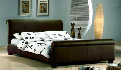 GENOA 4FT6 BROWN DOUBLE SLEIGH FAUX LEATHER BED