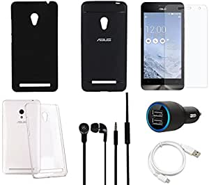 NIROSHA Tempered Glass Screen Guard Cover Case Car Charger Headphone USB Cable for ASUS Zenfone 5 - Combo