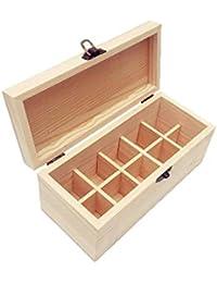 SinceY Caja organizadora aceites Esenciales múltiples de Madera Caja de Embalaje de 10 Compartimentos Almacenamiento para