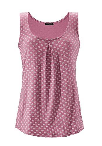 TrendiMax Damen Top Ärmellos Sommer Oberteil Tank Top mit Allover-Minimal Print Lässiges Baumwolle Shirt Basic Tee