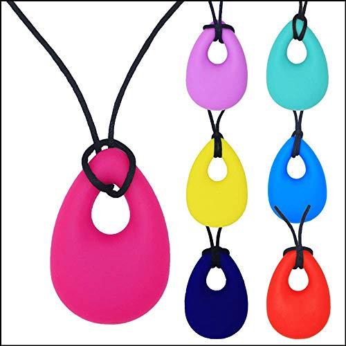 Second Sunny 7 stücke Silikon Chewy Halskette Chewelry Autismus ADHS Beißen Sensorische Kind Baby Beißringe Kauen Spielzeug Kinder