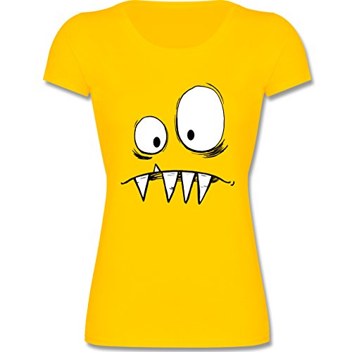 Kinder - Monster Gesicht Kostüm 2-164 (14-15 Jahre) - Gelb - F288K - Mädchen T-Shirt (Coole Kostüme Für Teenager Mädchen)