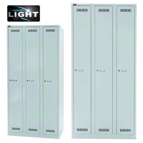 BISLEY Garderobenschrank LIGHT | Kleiderspind aus Metall | Umkleideschrank | Spind Spint | Grau | in 3 Größen (3 Abteile | Breite = 90cm)