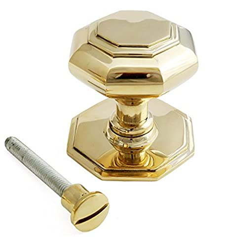 Large Solid Brass Octagonal Centre Door Knob (7cm)