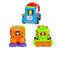 Tippi Set of 3 Push & Go Toy Vehicles With Real Working Functions - Friction Powered Fun Trucks With Real Working Functions (Cement Mixer, Road Sweeper, Combine Tractor) Boys Toys