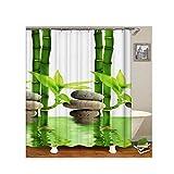 Bishilin Anti Schimmel Duschvorhang Waschbar Bambus Bad Vorhang für Badezimmer Polyester-Stoff 180x200