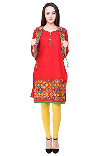 Vastraa Fusion Red Cotton Kurti with Embroidered Multicolored Jacket - Medium