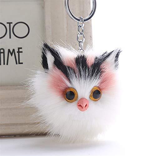 OSYARD Schlüsselanhänger,Keychain,12 cm Nette Katze Schlüsselringe Frauen Rucksäcke Taschen Handtaschen Anhänger Zubehör Schlüssel Ring Pompoms Autoschlüssel Keyring Weich Schlüsselbund (Net Fury)