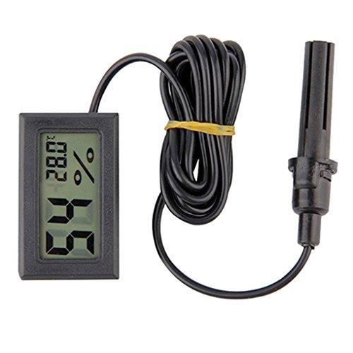 Gemini_Mall® Mini-LCD-Digital-Thermometer & Hygrometer, mit Sonde für Terrarien, Aquarien, Gewächshäuser, schwarz