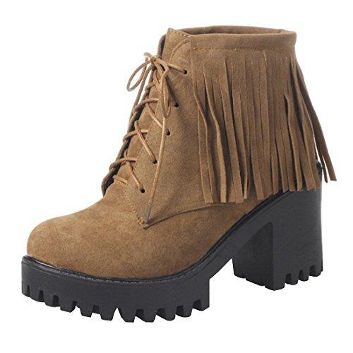 YE Damen Ankle Boots Chunky Heels Schnürstiefel Plateau mit Fransen und Bolckabsatz 8cm Herbst Winter Modern Schuhe