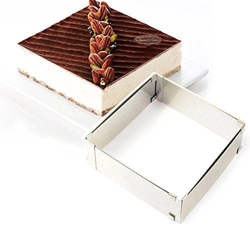 lzndeal Cadre à Pâtisserie Rectangle/Cadre rectangle/séparateur amovible Inox Argent