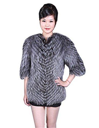 YR Lover Damen Warm 100% Echter Silber Fuchs Pelz Winter Mantel Silber
