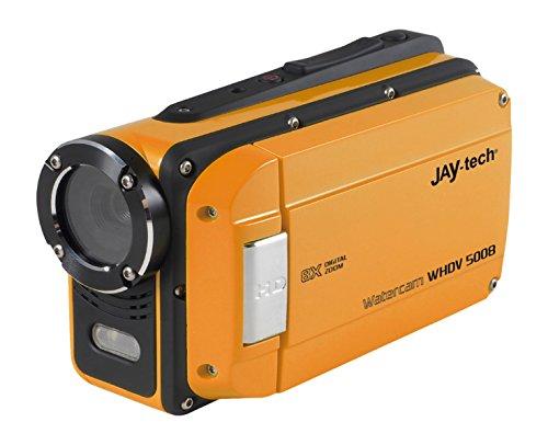 Jaytech 77007418 Watercam WHDV 5008, orange, inkl. 2 Akkus und 8GB Speicherkarte, 5 Megapixel HD CMOS Sensor, Full HD 1920x1080p