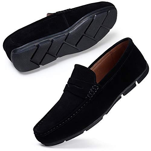 STQ Herren Mokassins Slip on Flache Fahren Halbschuhe Echtes Leder Loafers Schuhe Beiläufig Slippers Hausschuh Weich Komfort Wildleder Schwarz 42 EU - Wildleder Deck Shoes