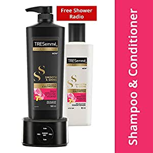 Tresemme Smooth & Shine Shampoo 580 ml and Conditioner 80 ml with Free Shower Radio