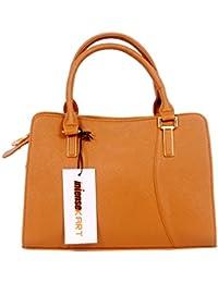 IntenseKart Latest Stylish Pu Leather Handbag, Trendy Partywear Zip And Lock Handbag For Women And Girl's (Tan)