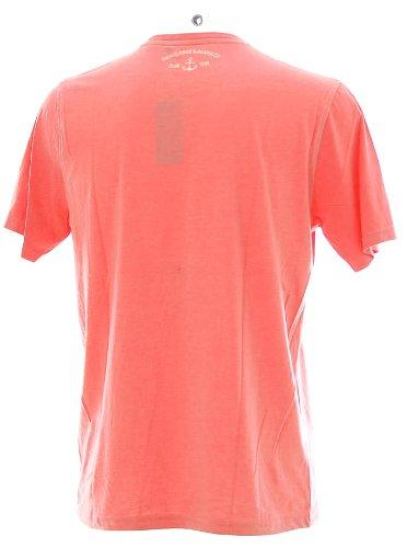 Kitaro Herren Kurzarm Shirt T-Shirt Rundhals Bahia De Acapulco Rot Melange