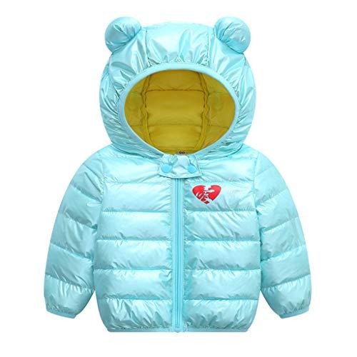 LEXUPE Baby Mädchen Mäntel aus Baumwolle Frühlung Herbst Winter Jache mit Kapuze Kleinkinder Warm Kleidung(Minzgrün,90)