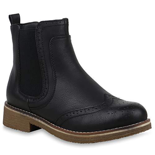 Stiefelparadies Damen Stiefeletten Chelsea Boots Leicht Gefütterte Booties Leder-Optik Schuhe Profilsohle 145832 Schwarz Cabanas 37 Flandell