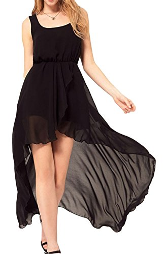 Femmes Sexy ras du cou sans manches en mousseline de soie taille irrégulière Clubwear Robe Noir