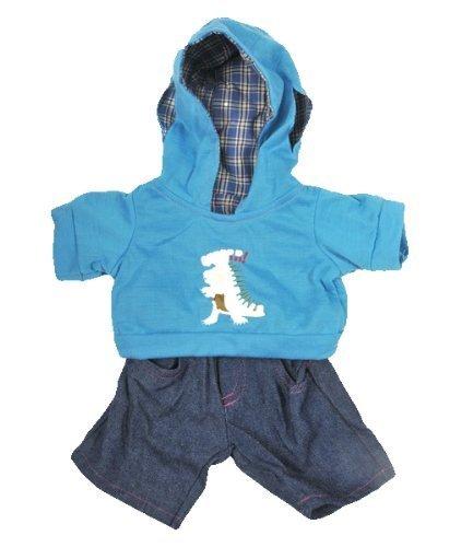 DINOSAURIER HOODIE UND JEANS Teddybär Outfit / Bekleidung. Passend für 8