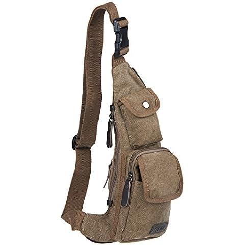TECOOL® Tela sacchetto dell'imbracatura borsa a tracolla fuori porta zaino squilibrio pacchetto della cassa corpo croce per escursioni a piedi in bicicletta |caffè