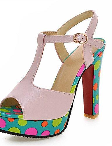 LFNLYX Chaussures Femme-Mariage / Habillé / Décontracté / Soirée & Evénement-Rose / Blanc-Gros Talon-Talons / Bout Ouvert-Sandales-Similicuir White